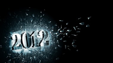 illustration of new year 2012 in the broken glass, copyspace