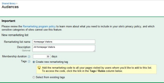 how to set up adwords retargeting