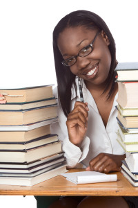 Adult education Afro American woman book studying