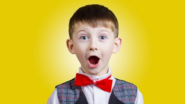 Surprised  little boy with mouth open