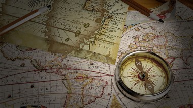 Vintage map and vintage compass