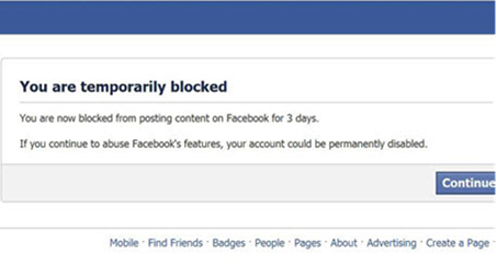 Facebook Temporarily Blocked