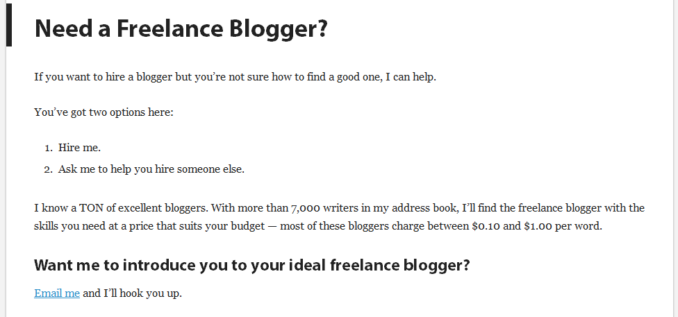 need a freelance blogger