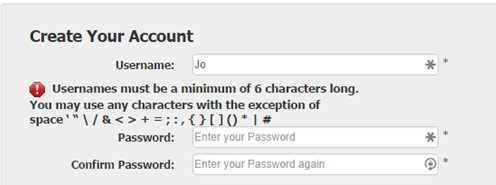Complex Username or Password