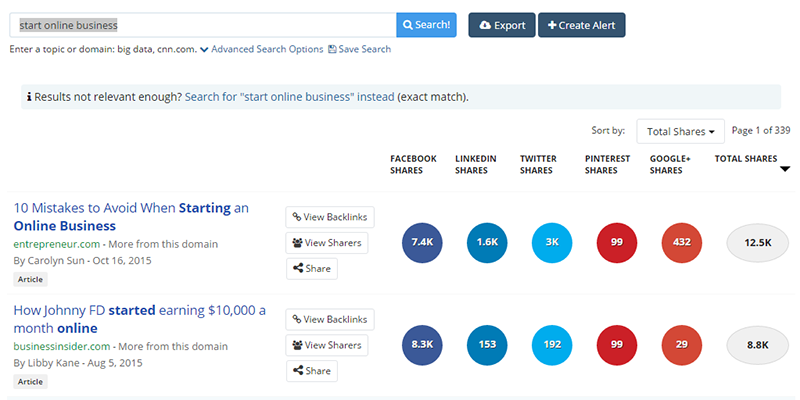 buzzsumo start online business