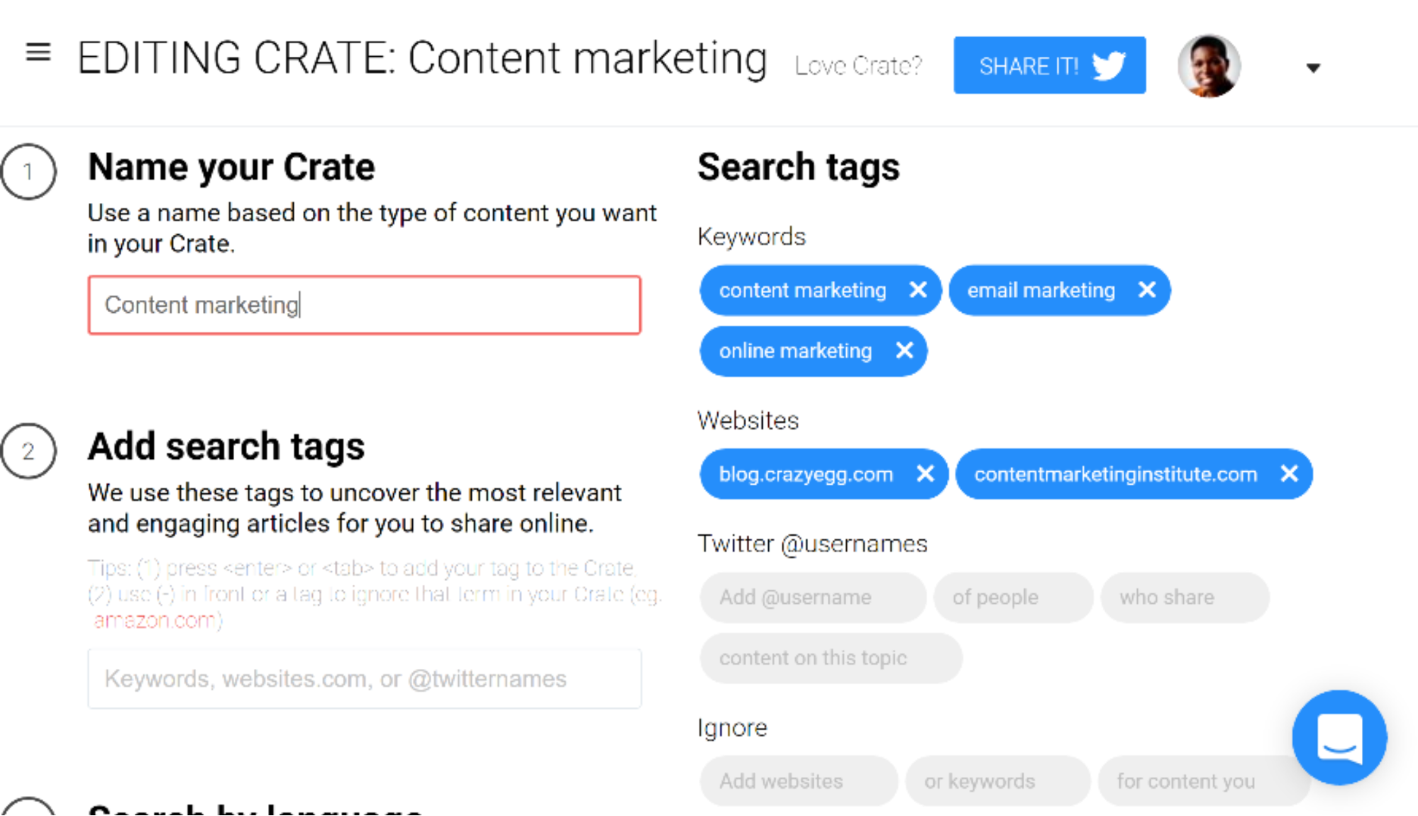 Setting up a new search in content tool Crate
