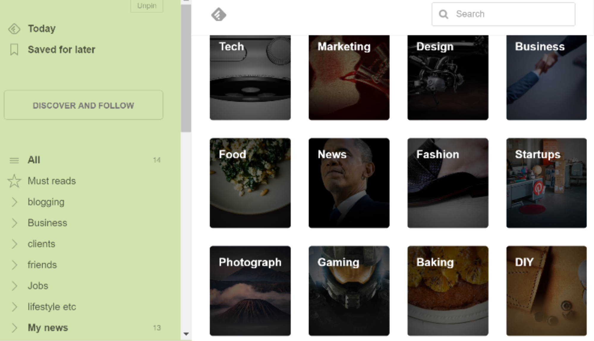 Page to set up categories in Feedly
