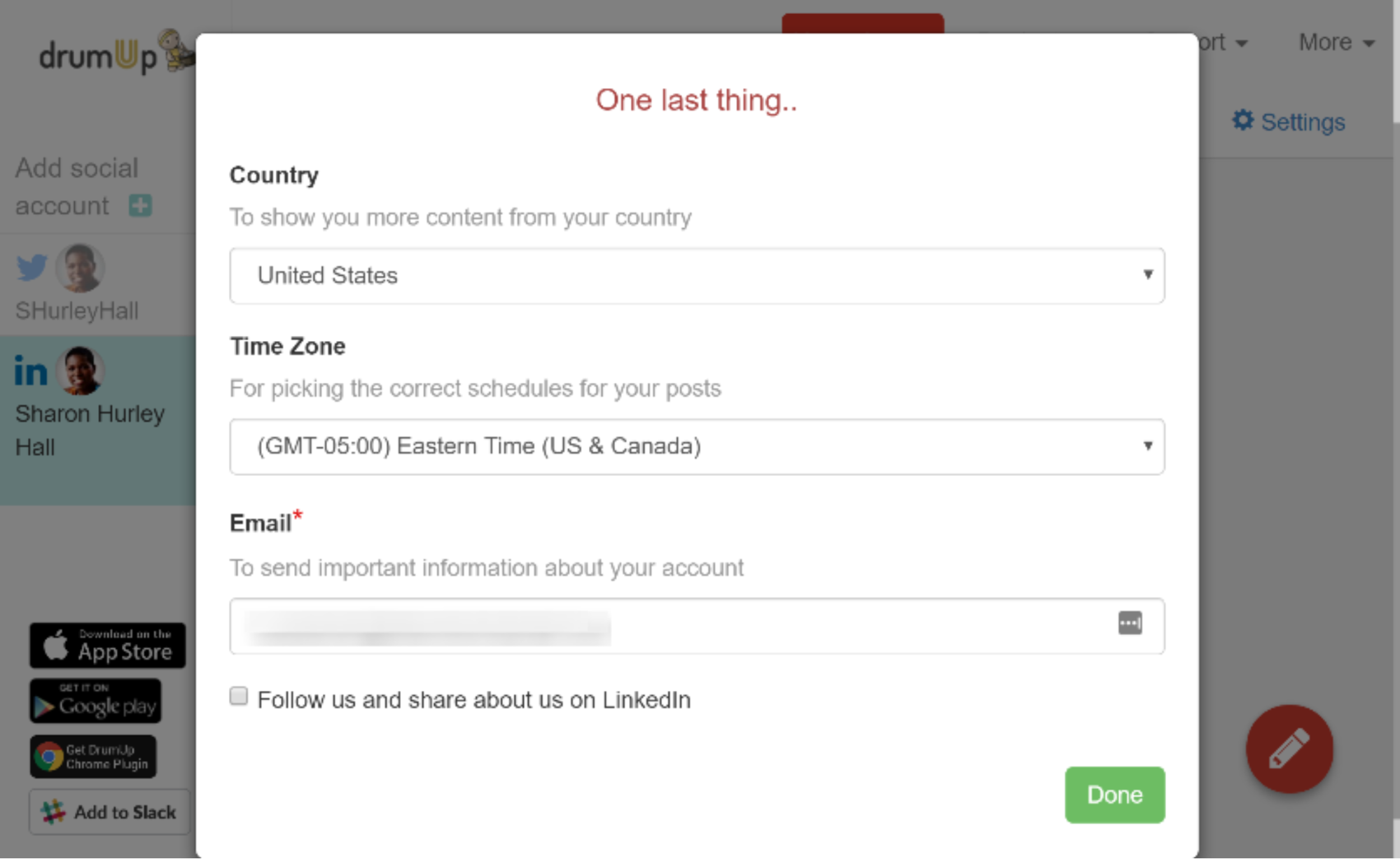 Adding country information to content tool DrumUp
