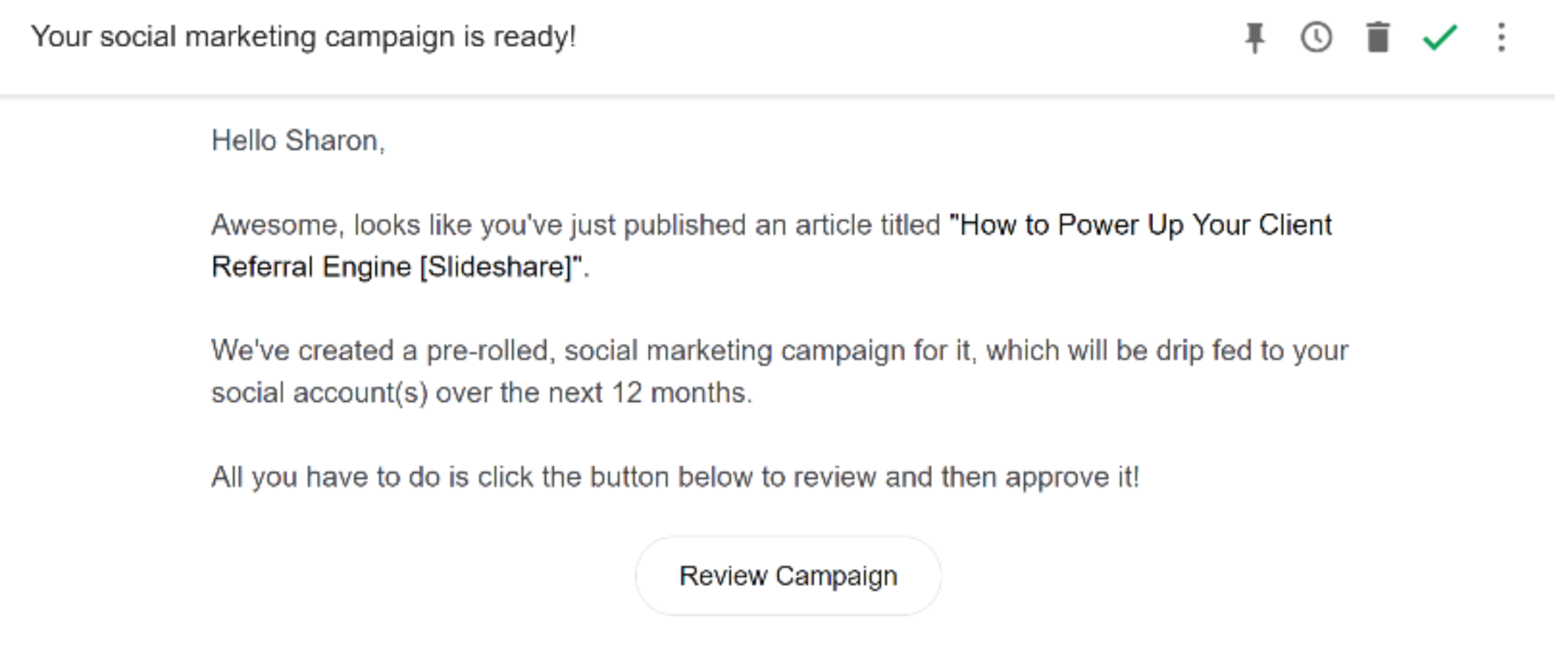 Review your social media campaign in Missinglettr