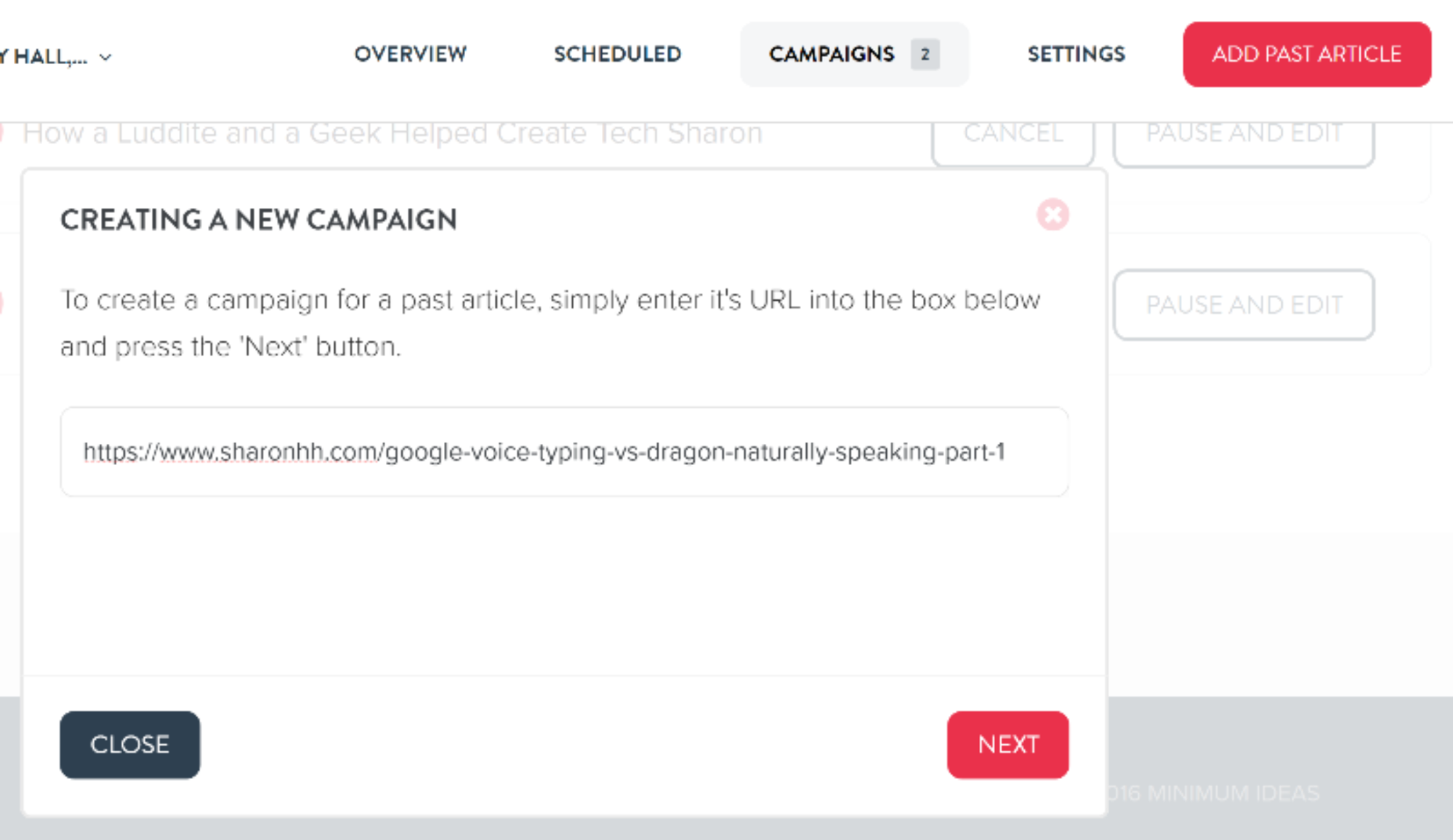 Create a new campaign page in MissingLettr
