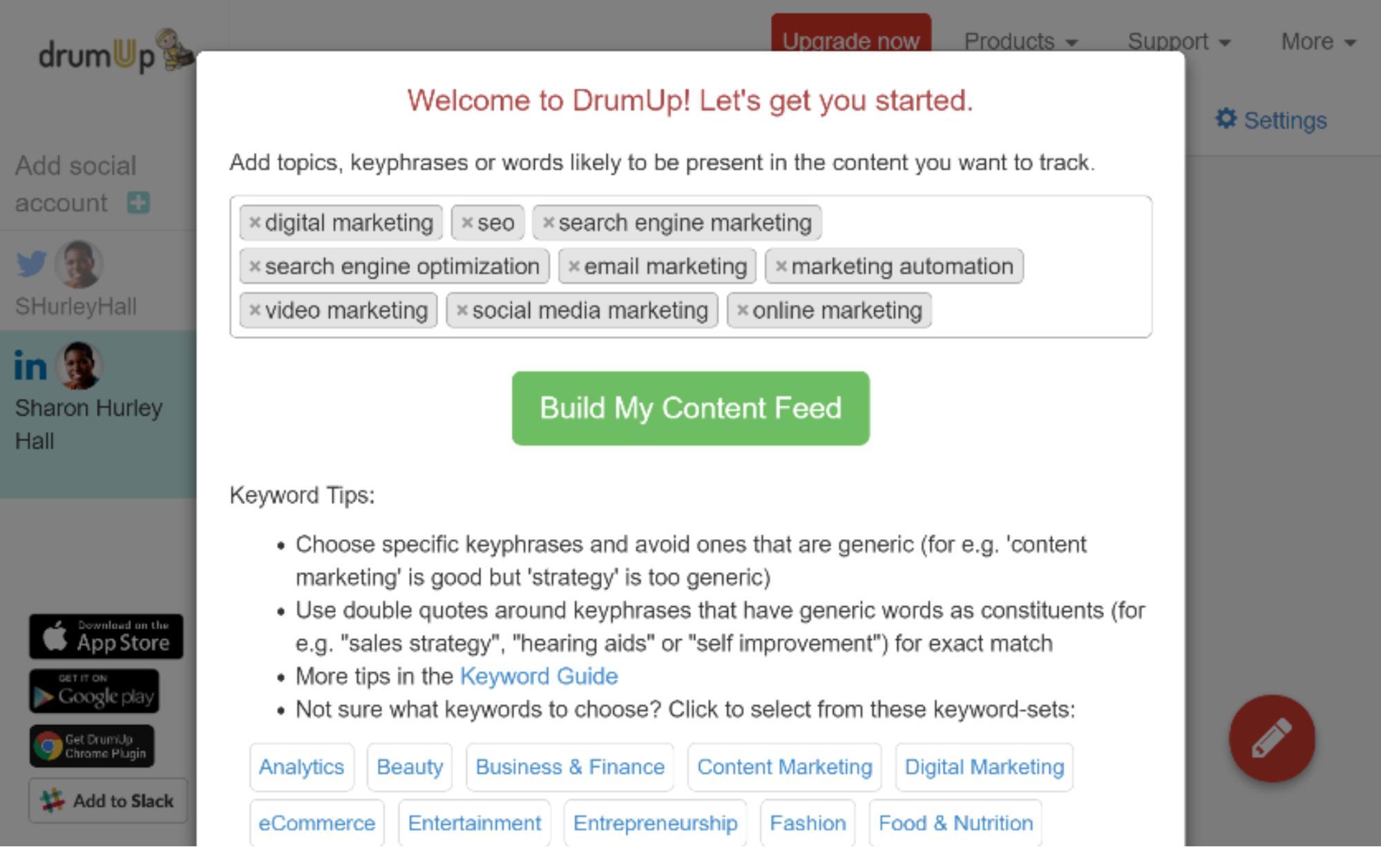Build my content feed page on DrumUp