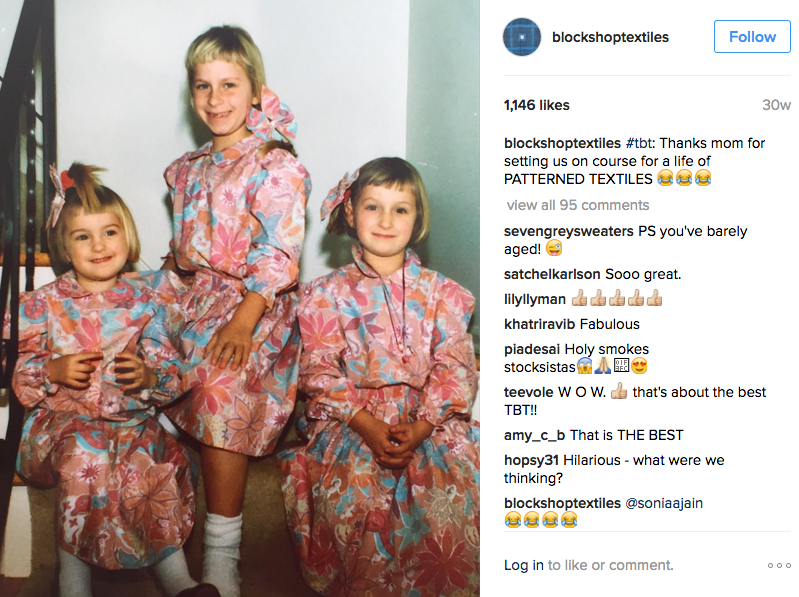 BlockShopTextiles Twitter page with photo of three girls in patterned dresses