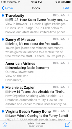 Screenshot of personalized email subject lines