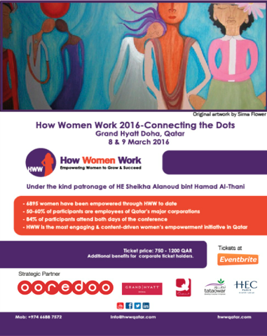 Colorful flyer for women's career event