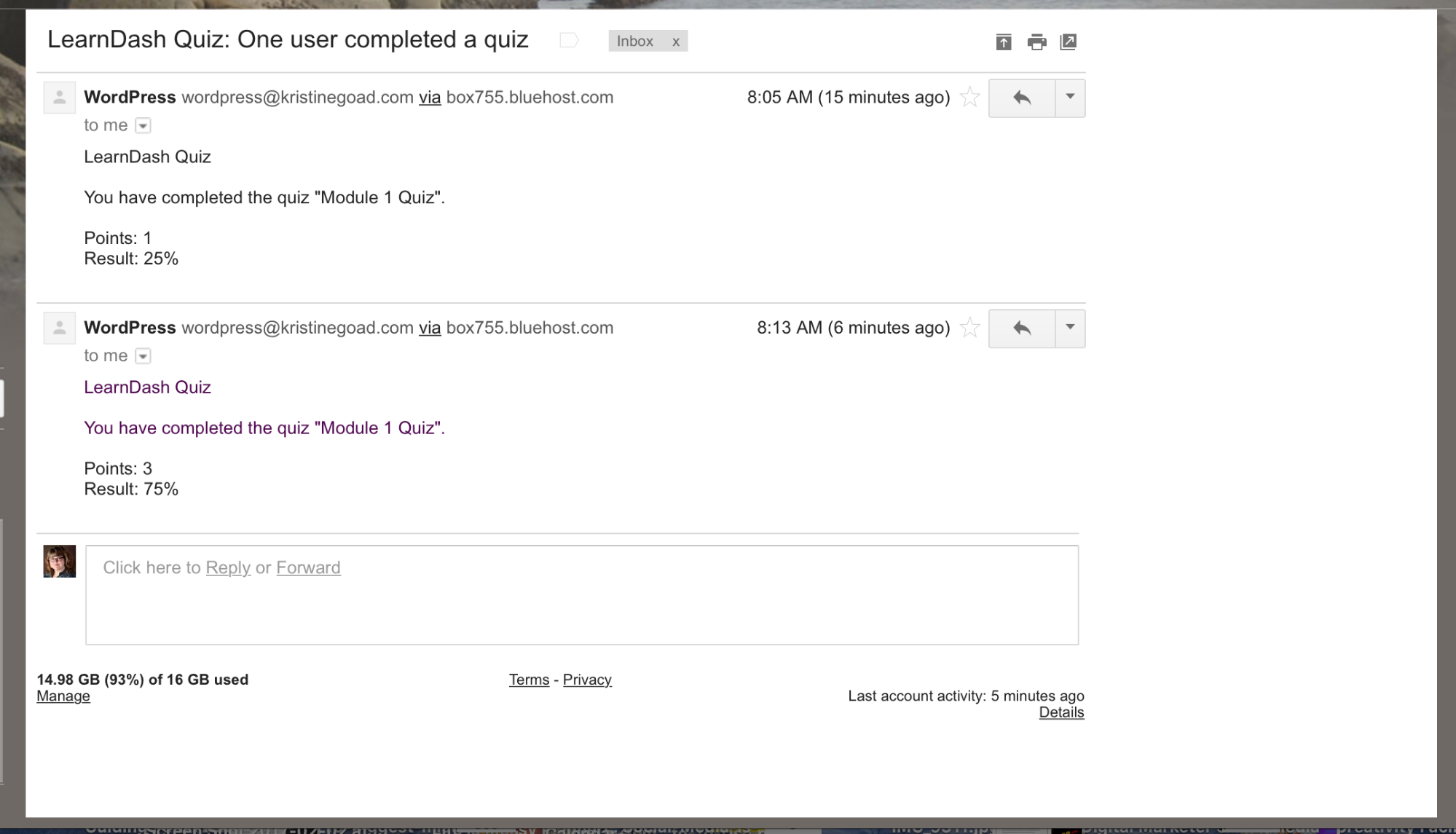 Screenshot of LearnDash quiz