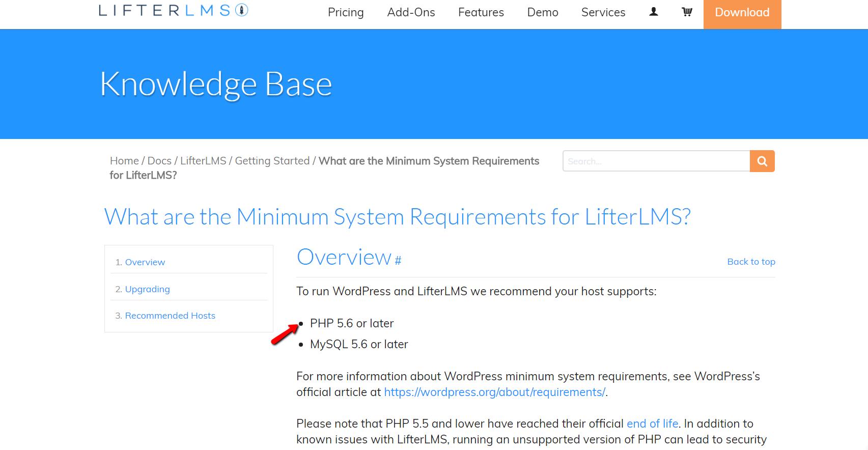 Screenshot of LifterLMS Knowledge Base
