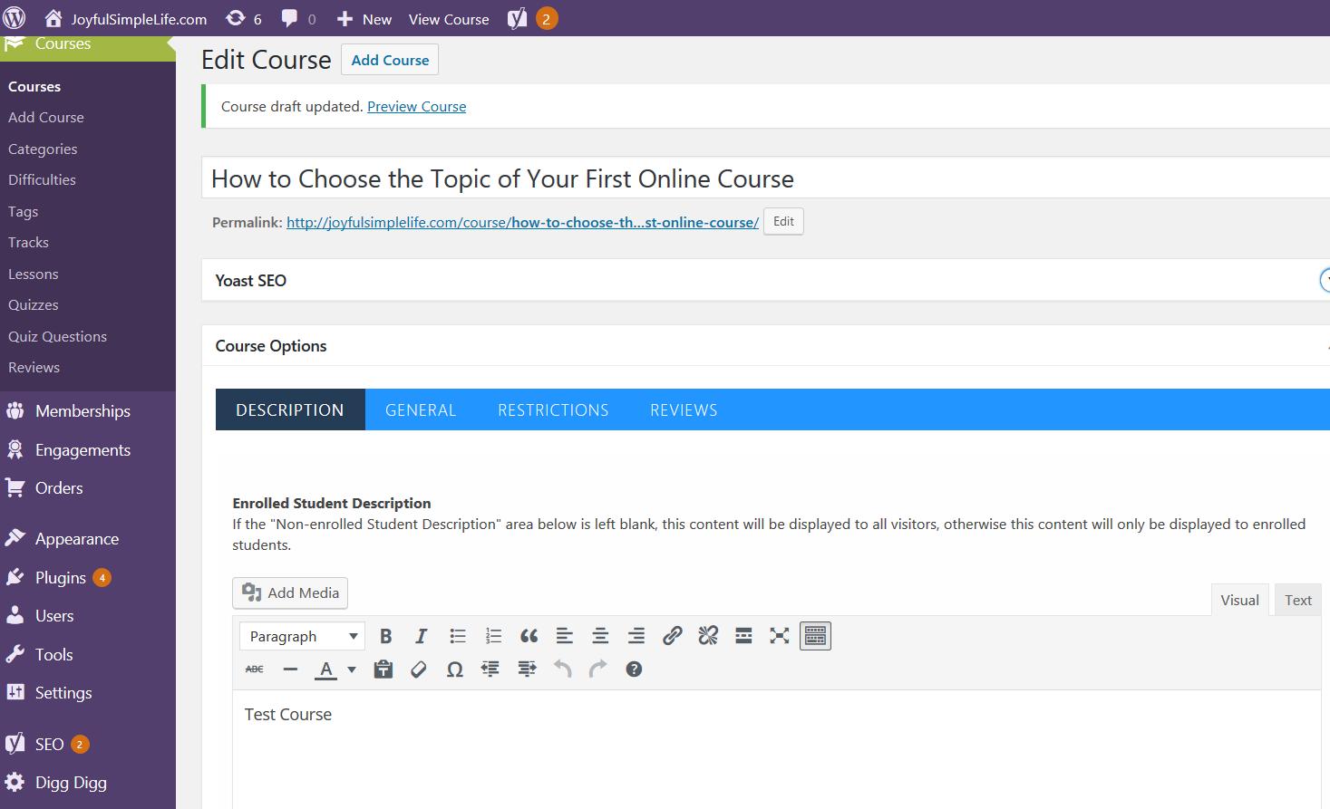 LifterLMS Course Description screen