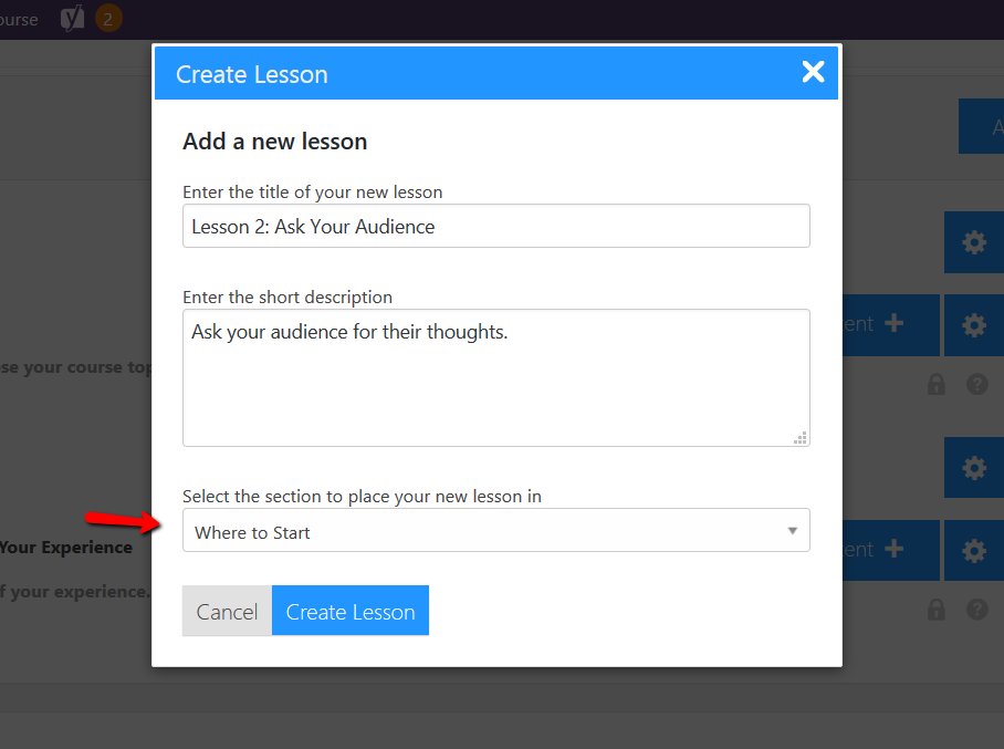 LifterLMS Create Lesson screen