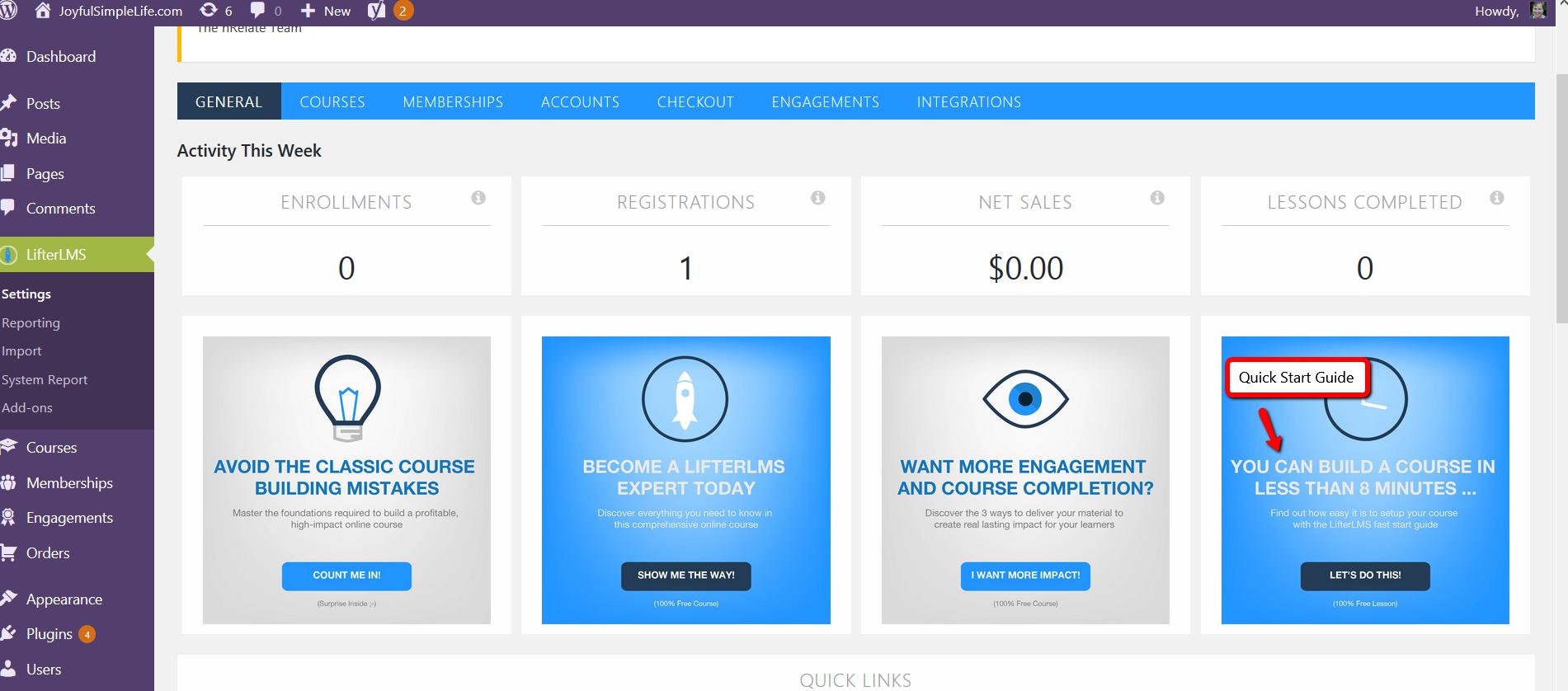 Screenshot of LifterLMS dashboard