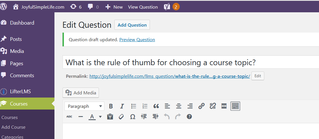 LifterLMS Edit Question screen