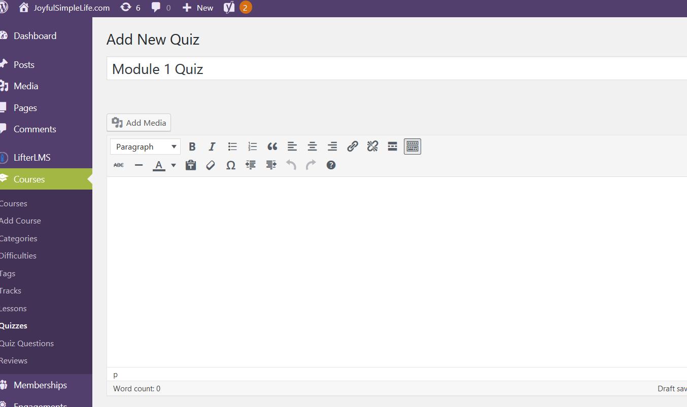 LifterLMS Add New Quiz screen