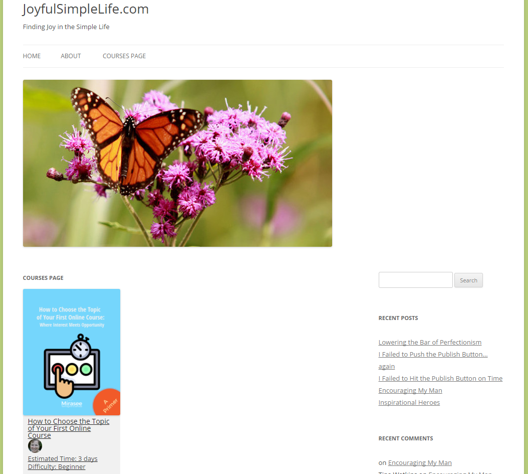 Picture of courses page on website with image of butterfly on flower