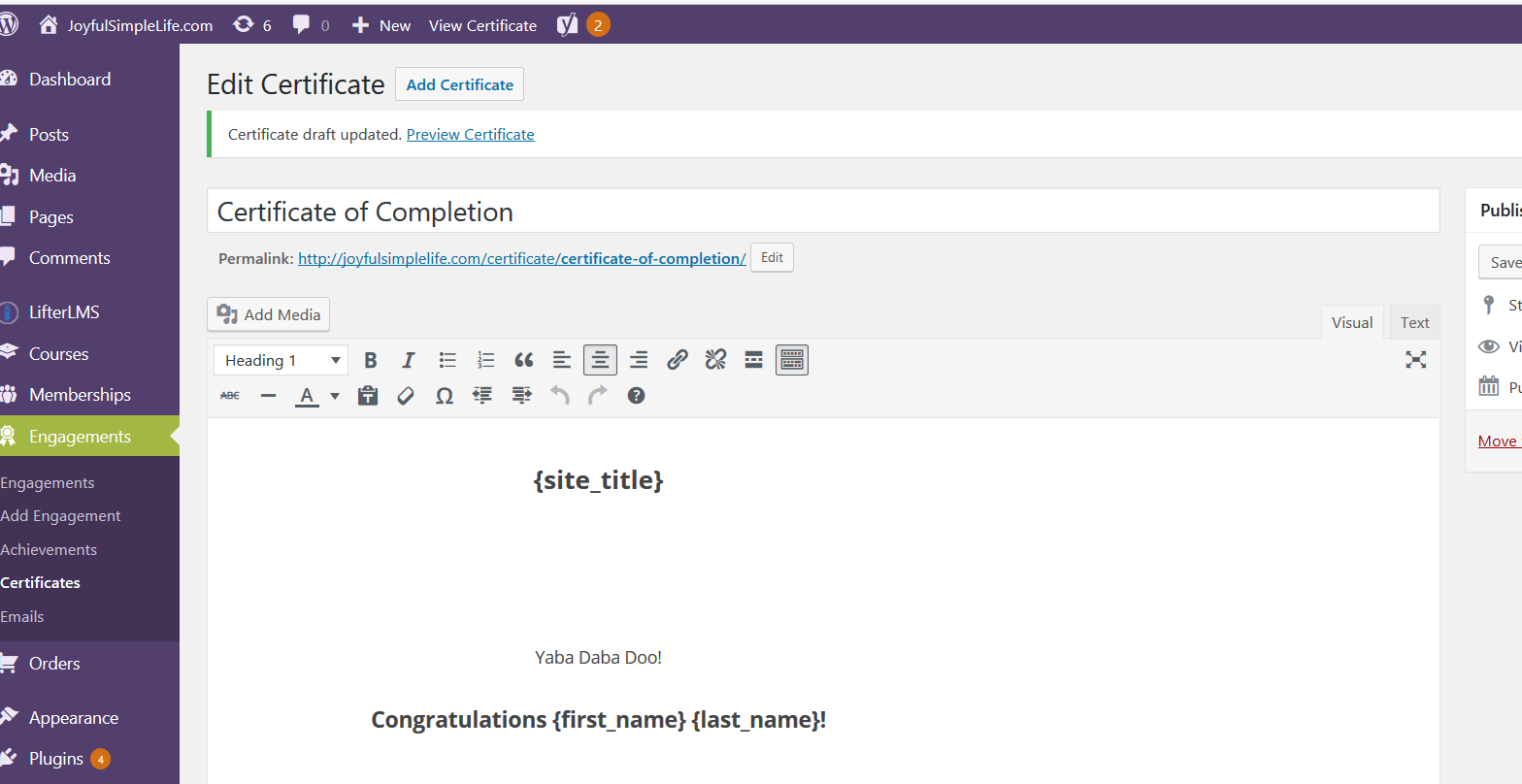 LifterLMS Certificate Information screen