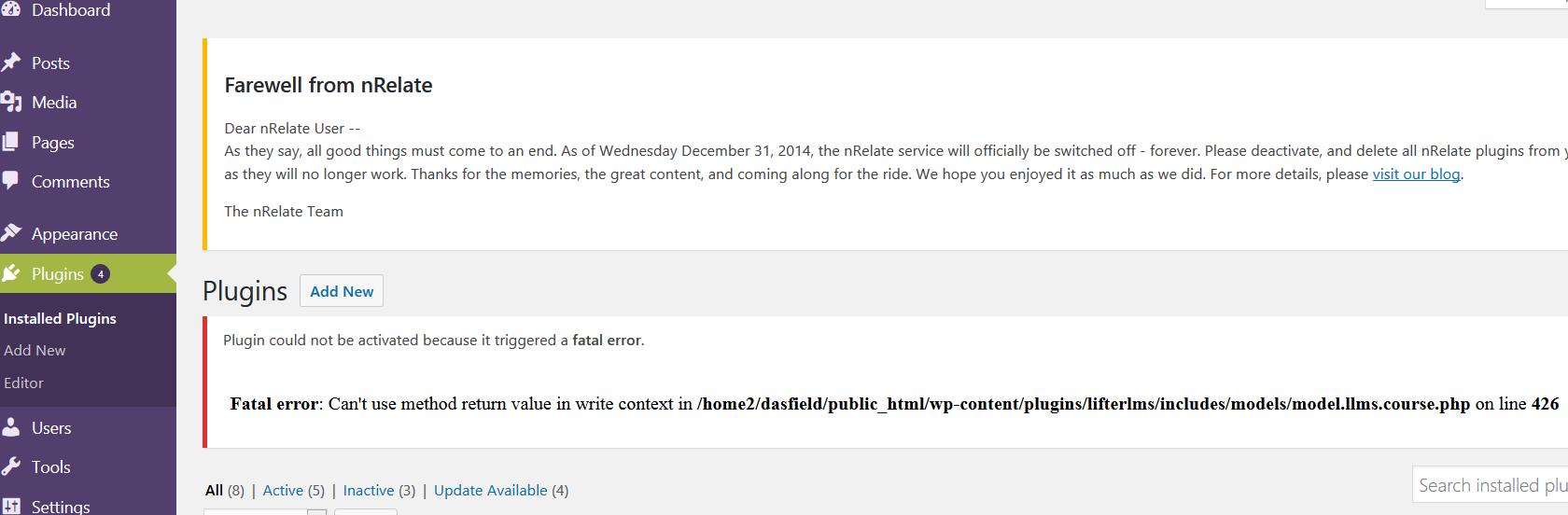 Error message in WordPress dashboard