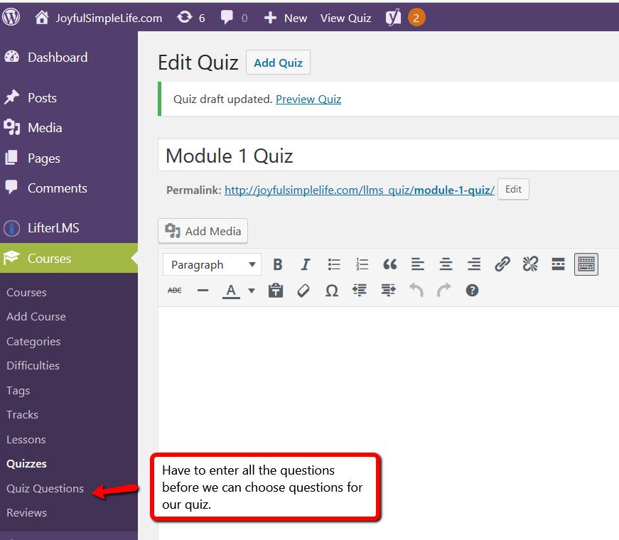 LifterLMS Edit Quiz screen