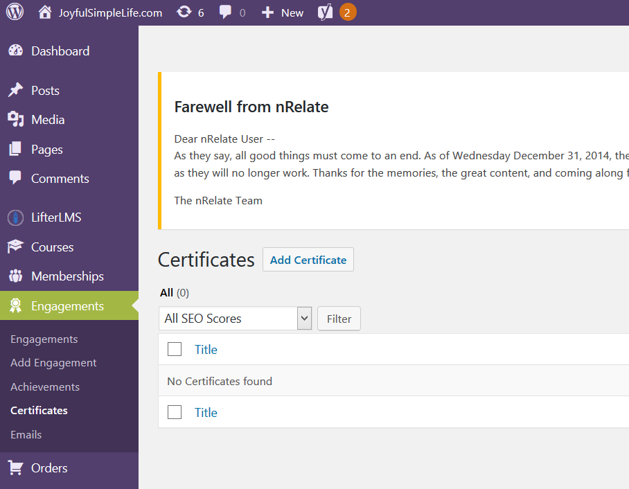 LifterLMS Certificates Tab