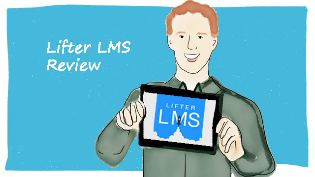 Graphic of man holding iPad with Lifter LMS on screen