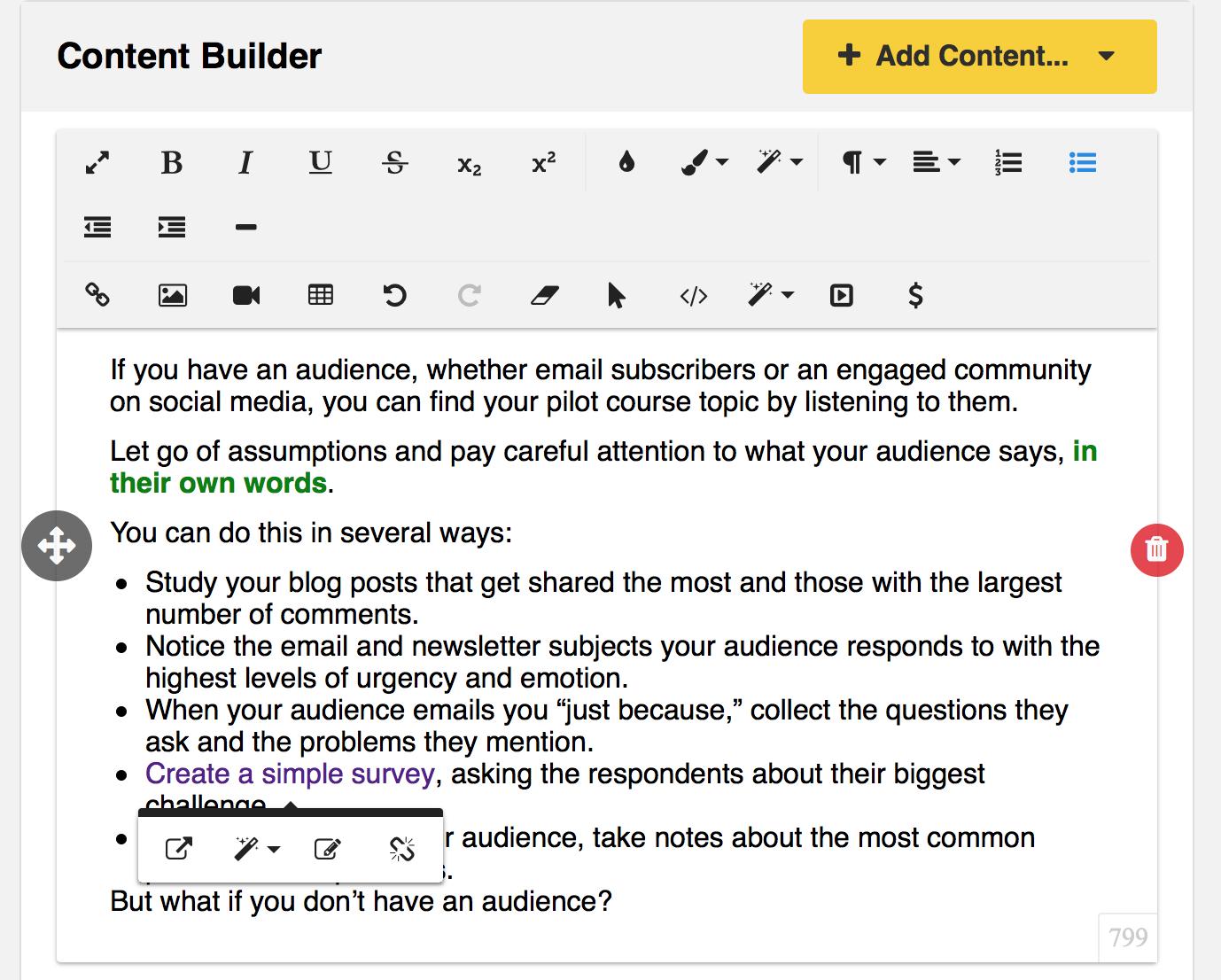 Zippy Courses Content Builder visual editor