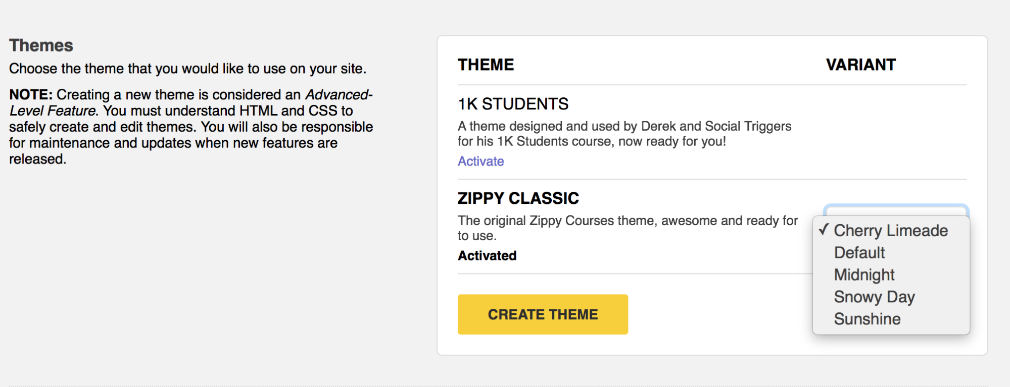 Create your own theme in Zippy Courses