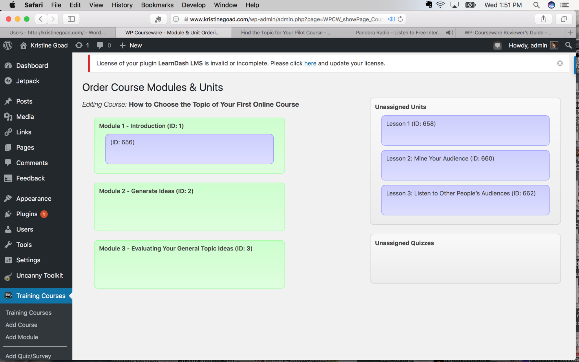 Order Course Modules and Units page
