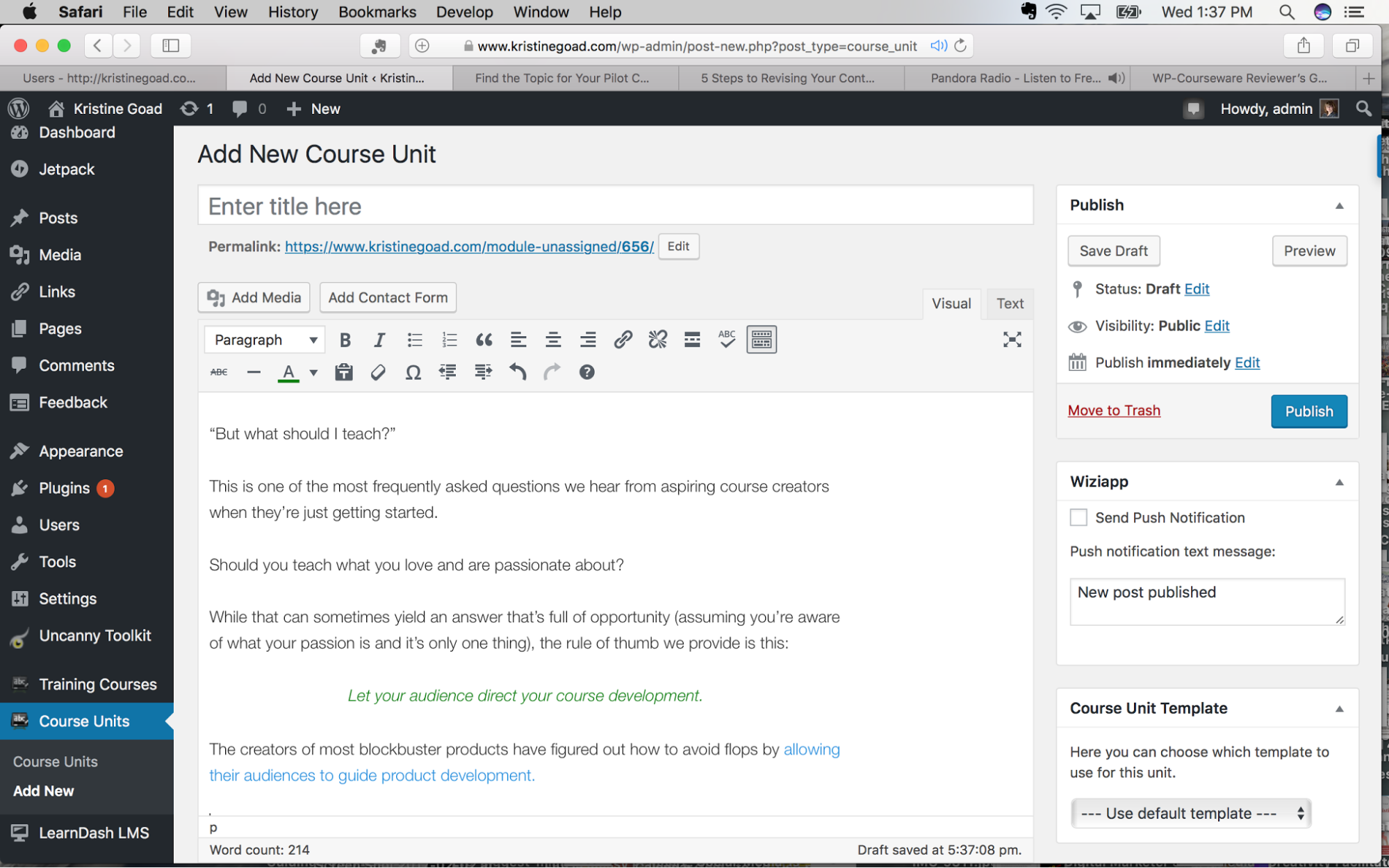 WP Courseware visual editor view of Add New Course