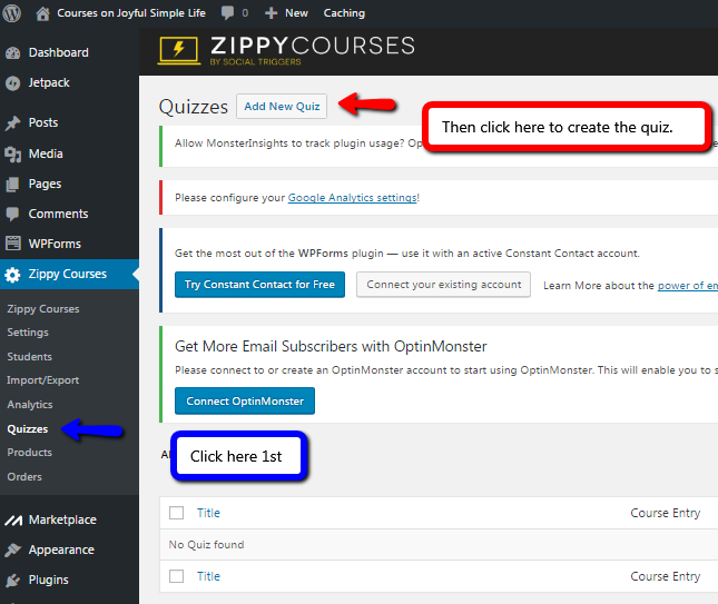 Zippy Courses Quizzes screen