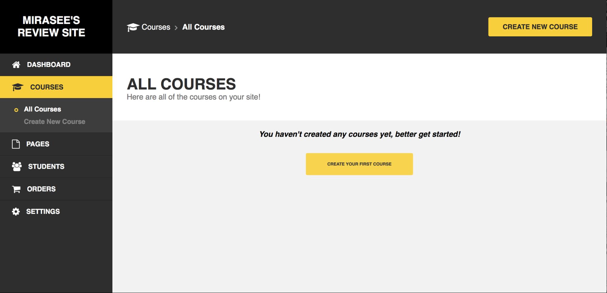 Zippy courses dashboard All Courses screen