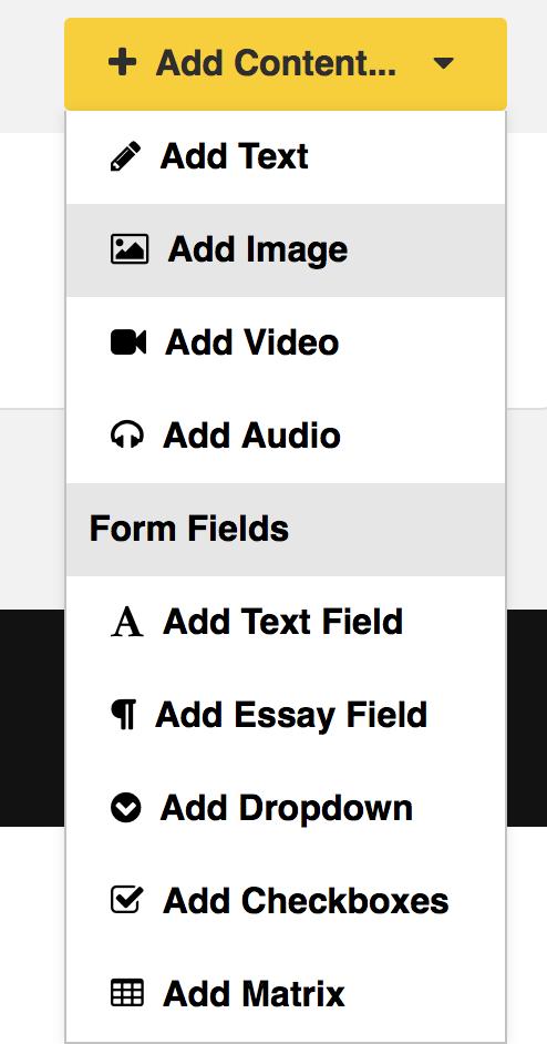 Content drop-down menu for worksheets