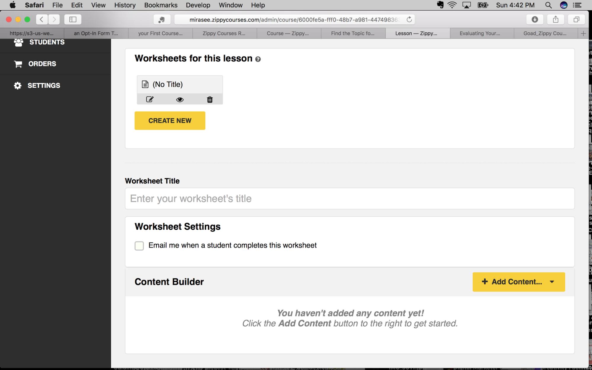 Zippy Courses Worksheet function