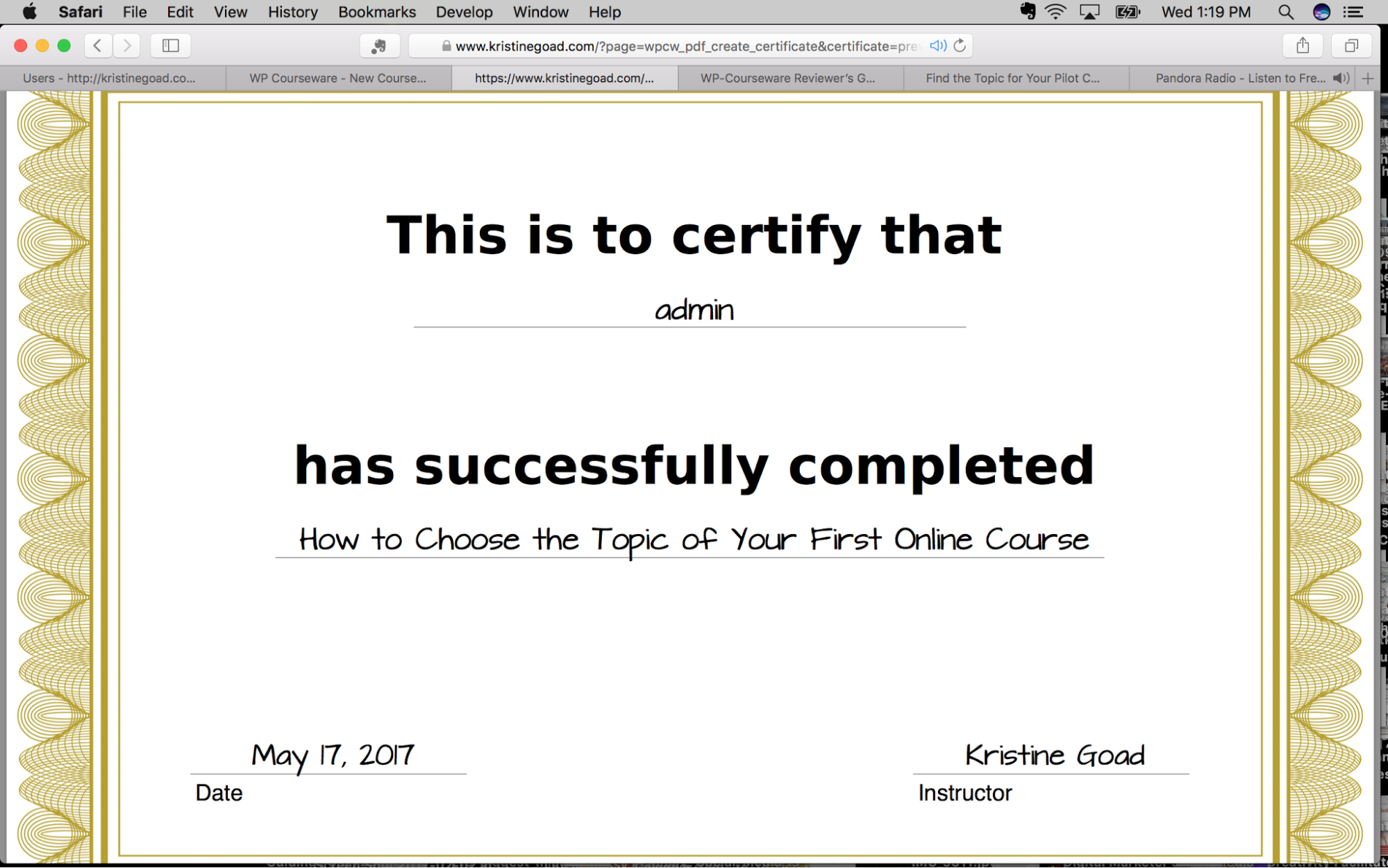 Image of WP Courseware certificate of completion
