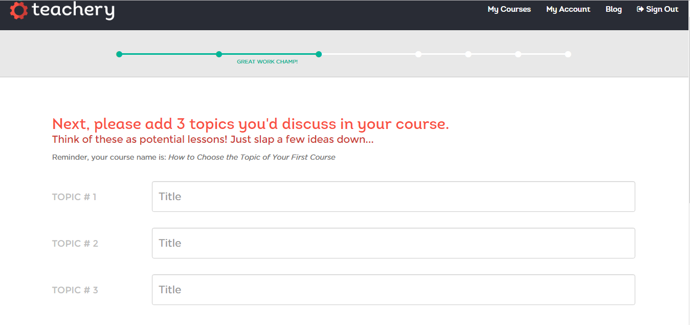 Teachery add course topics page
