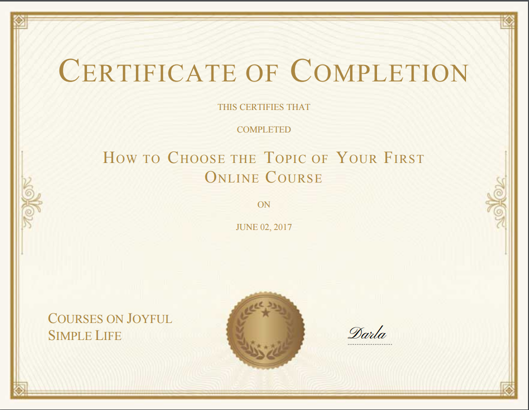 Zippy Courses Certificate of Completion