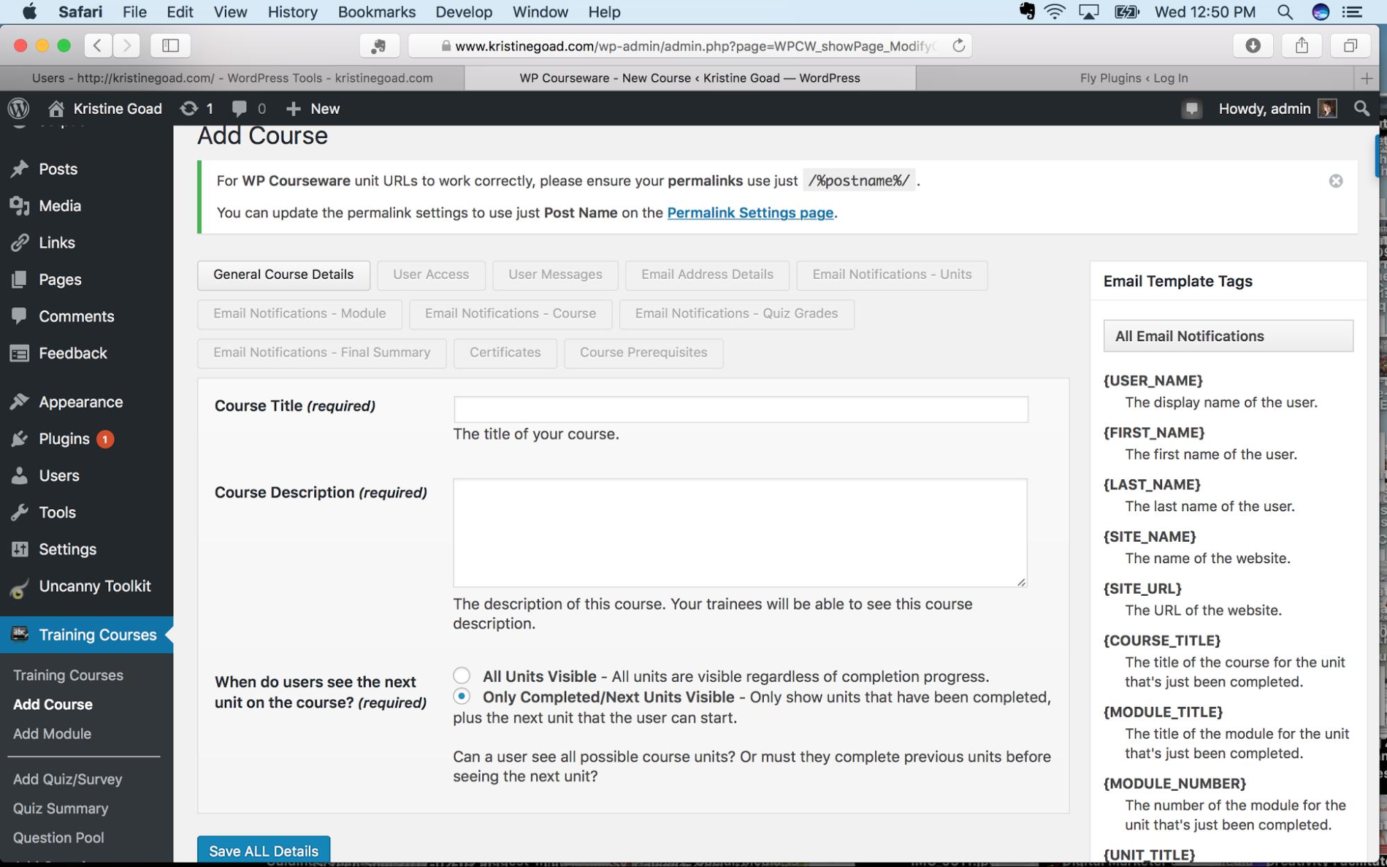 Screenshot of WP Courseware dashboard