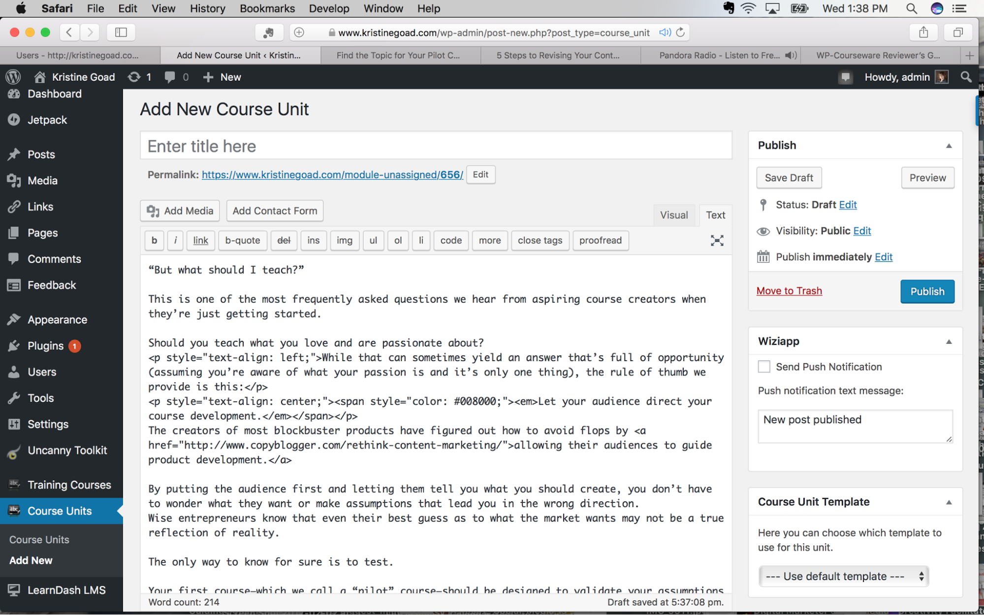 Create course units in WP Courseware text editor view