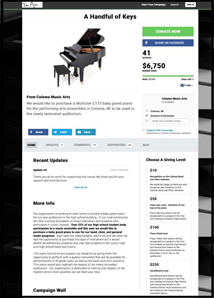 A Handful of Keys crowdfunding campaign page