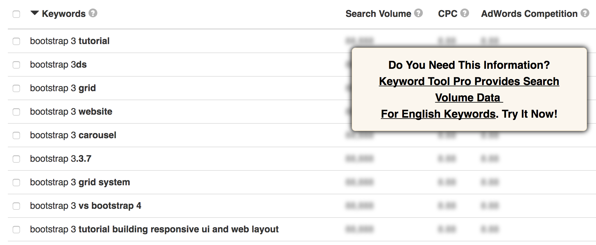 Keyword search for bootstrap 3 in KeywordTool.io