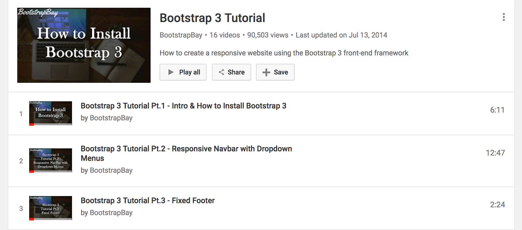 Bootstrap 3 video playlist