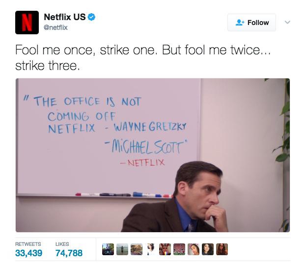Netflix tweet about The Office