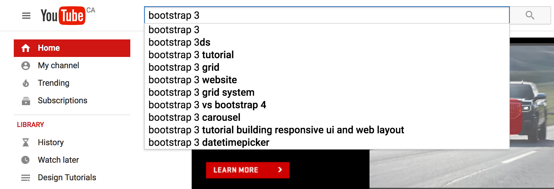YouTube search for bootstrap 3