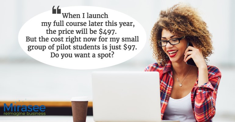When I launch my full course later this year, the price will be $497. But the cost right now for my small group of pilot students is just $97. Do you want a spot?